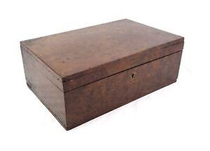 Antique 19th Century Walnut Burl Veneer Storage Lock Box Locked Unable to Open