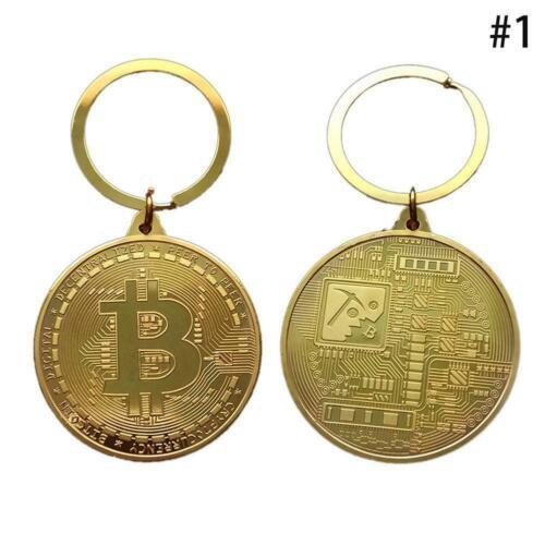 New Bitcoin Gold Medal Key Ring Chain Fob Keychain Keyring Gifts`.,//DE V5K8