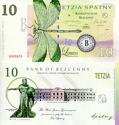 TERRITORY OF WEST JUNEE 1-500 Spatny Fun-Fantasy Note issue 2014 dragonfly