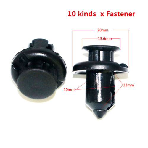 200pcs Black Plastic Mixed Auto Fastener Door Panel Fender Liner For Honda Acura