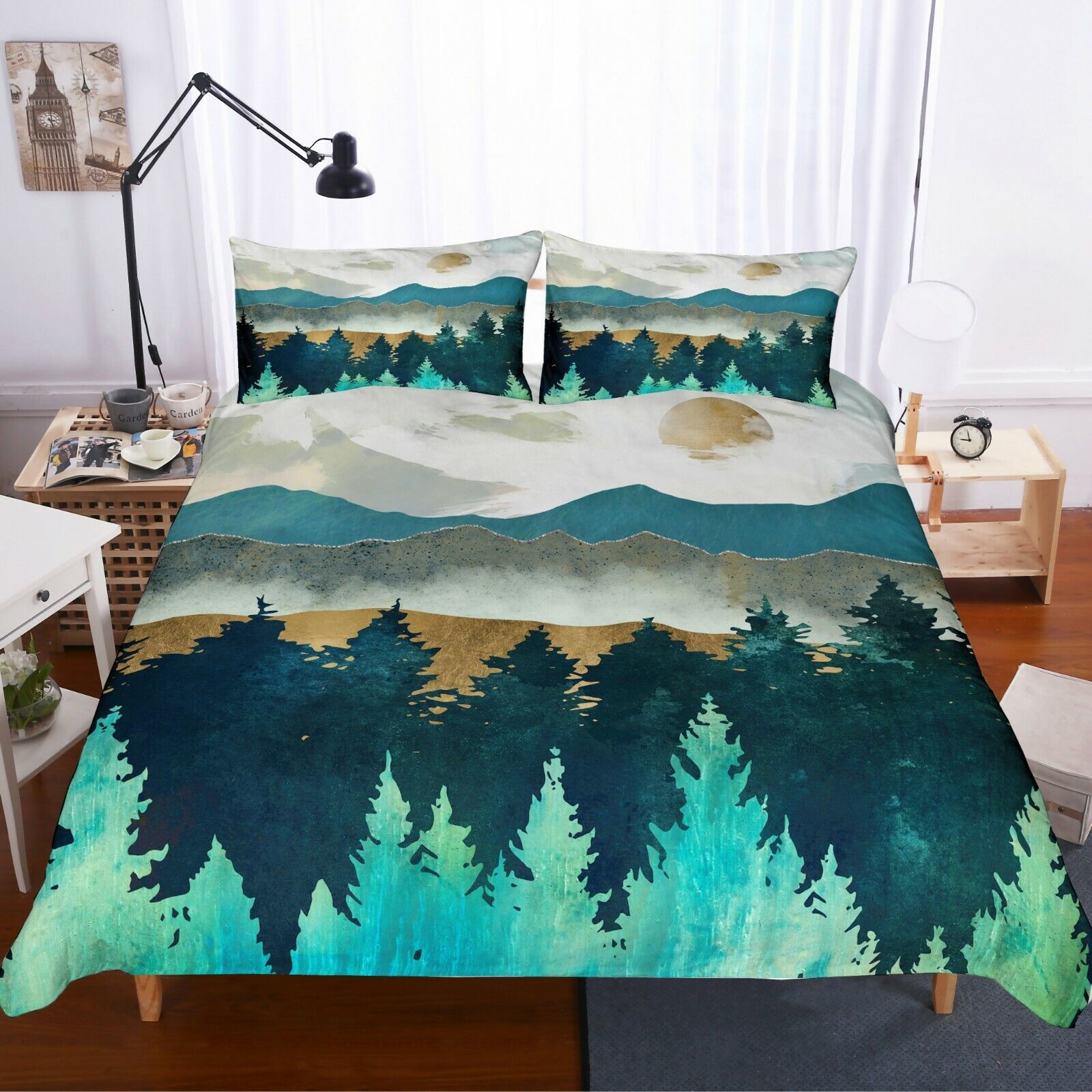 3D Abstract WaterColoreeeee Mountains Quilt Cover Set Bedding Duvet Cover Pillow 21