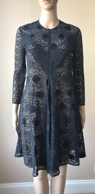 Auth. Stella McCartney Polka Dot Navy Lace Dress Size IT-42/M