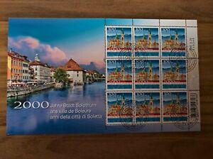 Kleinbogen, miniature sheet, 2000 Jahre Stadt Solothurn, Ersttag / Canceled FD