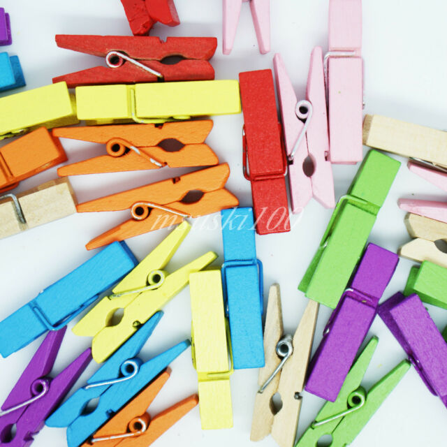 Mini Wooden Craft Pegs Photo Clips 35mm in length New 8 colours Hobby Art DIY