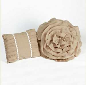 TIANA TAUPE RUCHED Set of 2 PILLOWS - CHIC COTTAGE RUFFLED ROSSETTE SHABBY TOSS