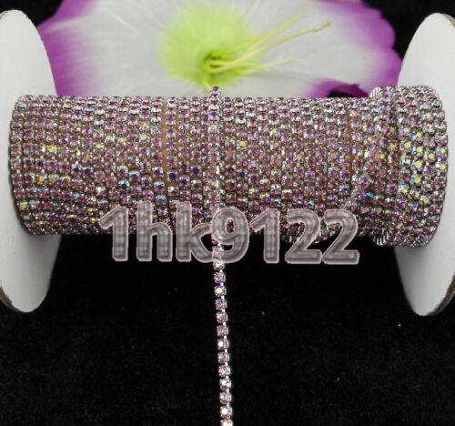 2 Yd environ 1.83 m Violet Clair AB Cristal Strass Chaîne Compact argent Chaîne Coudre