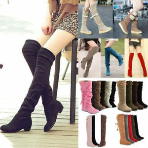 Womens-Over-the-Knee-Boots-Stretch-Low-Heel-Zipper-Lace-Up-Long-Slim-Shoes-Size