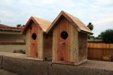 2 Cedar Bird Houses Handmade Wooden Bird Nest