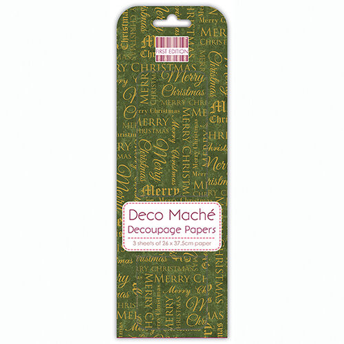 3 SHEETS OF DECOUPAGE DECO MACHE PAPER FIRST EDITION TRADITIONAL TEXT