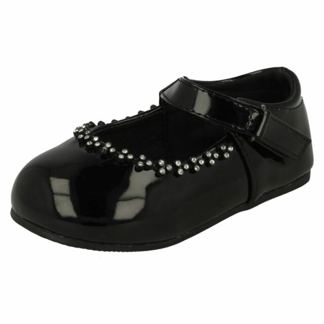 3c62cfed5815 Spot on H2301 Girls Black Synthetic Patent Velcro Fastened Party ...