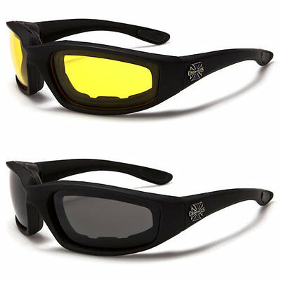 Twin Pack – Mens Choppers Motorcycle Driving Riding Glasses Padded UV400
