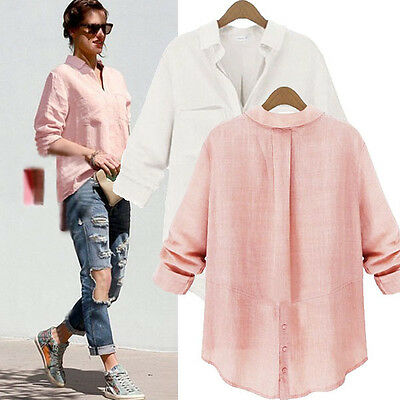 Womens Button Down Collar Loose Casual Shirt Blouse Baggy Boyfriend Style V Top