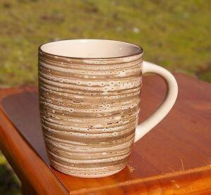 Pottery Coffee Mug Cup Brown Beautiful Horizontal Textured Striped Glaze