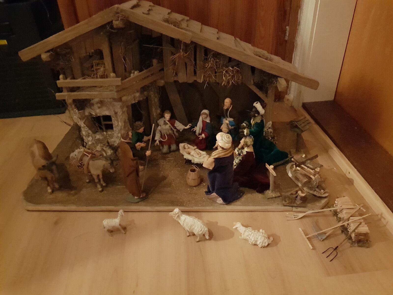Crèche avec de et nombreuses crèches personnages et de accessoires en bois-tout pur travail Femmeuel 45479a