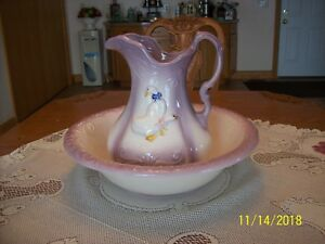 Ironstone-Pitcher-amp-Wash-Basin-Lavender-amp-Embossed-Ducks-and-Raised-Swirl-Design