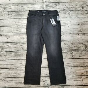 NWT-Nine-West-Women-039-s-Black-Santa-Monica-Mid-Rise-Straight-Jeans-Size-16
