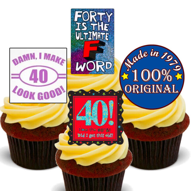 40th Birthday Funny Edible Cupcake Toppers Stand Up Fairy Cake Decorations 1979