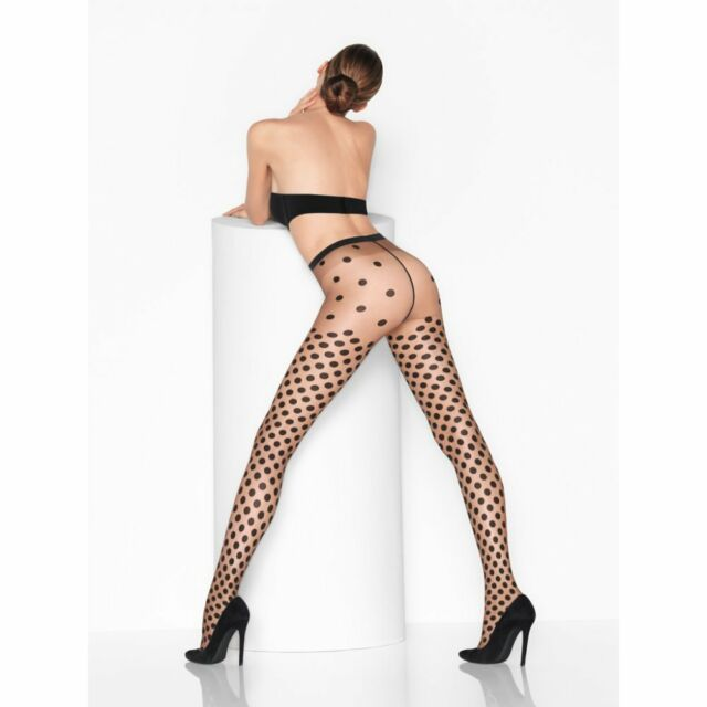 cfb7c613319 Wolford Dolly Dots Tights Color  Sahara Black Large 18900 -14  RARE