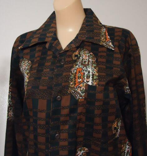 NOS Vtg 70s M Arrow Brown Blue Orange Abstract Dis