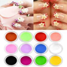 Lot 12 Mix Colors Acrylic Nail Art UV Gel Powder Dust 3D DIY Tips Decoration Set