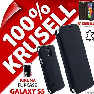 Neuf-Krusell-Kiruna-vrai-cuir-pliant-pour-Samsung-Galaxy-S5-etui-noir