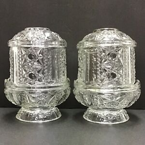 Set-Of-2-Vintage-Indiana-Glass-Clear-Stars-and-Bars-6-1-2-034-Fairy-Lamp