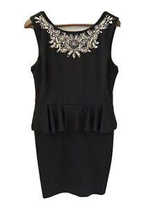 Lipsy-London-Womens-Sleeveless-Ruffle-Dress-Beaded-Black-Size-14-Near-New