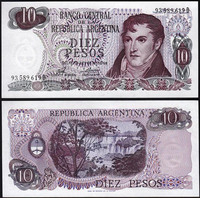 ARGENTINA  10 PESOS (1974 1976) UNC  P 295 Sign PORTA - MONDELLI
