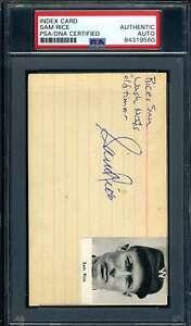 Sam Rice PSA DNA Coa Autograph Vintage Signed 3x5 Index Card