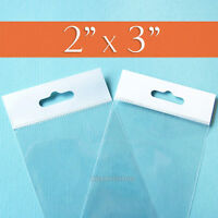 200 Clear Cello Bags,2x3 Inch, Hang Top,resealable Self Adhesive,opp Poly 2 X 3