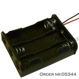 AA x 3 Battery Holder Black With 12cm Leads