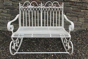 Image is loading Shabby-chic-double-metal-rocking-chair-bench-in- & Shabby chic double metal rocking chair/bench in aged antique cream ...