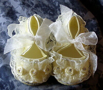 Baxter's Baby Bling. gitana Amarillo Encaje Bautizo, Boda Zapatos. 0-6 meses.