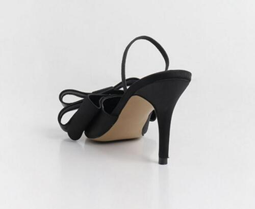 Details about  /WOmen/'s High Heels Stilettos Satin Bowknot Pointed toe Mules Slingbacks SHoes