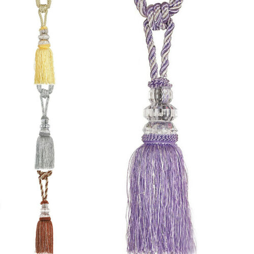 2pcs Curtain Holdbacks Rope Tie Backs Tassel Tiebacks Crystal Ball Home