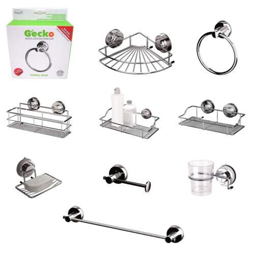 Gecko Stainless Steel Suction Turn & Lock Screwless Bathroom Accessories NEW