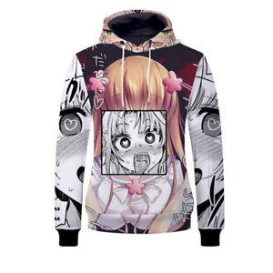 Anime-Ahegao-Hentai-Manga-Men-039-s-3D-Hoodie-Sweatshirt-Pullover-Coat-Jumper