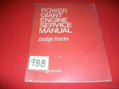 dodge power giant engines FACTORY DODGE TRUCK POWER GIANT ENGINE SERVICE 1-1?  eBay