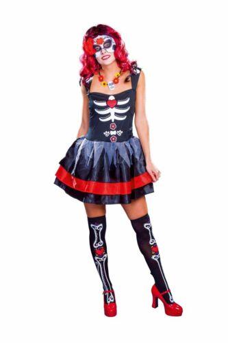FM Damen Kostüm Tag der Toten Skelett Halloween