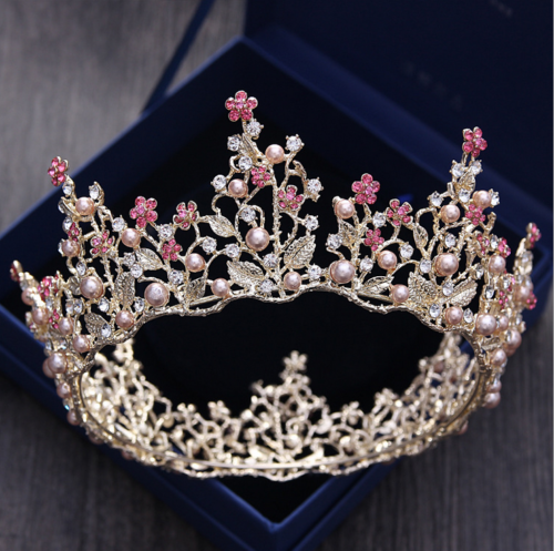 6cm High Ruby pink Sparkling Crystal Gold King Crown Wedding Prom Party Pageant