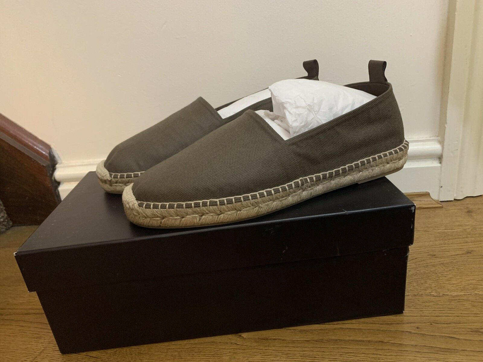 BNIB RALPH LAUREN PURPLE LABEL BOWSWORTH CASUAL ESPADRILLES SHOES IN TAUPE
