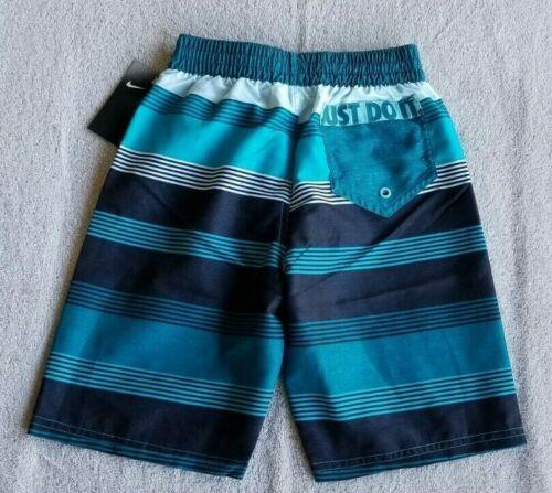 NWT Boys Nike NESS9672-448 Swim Volley Shorts Trunks w//liner Striped Blue XL