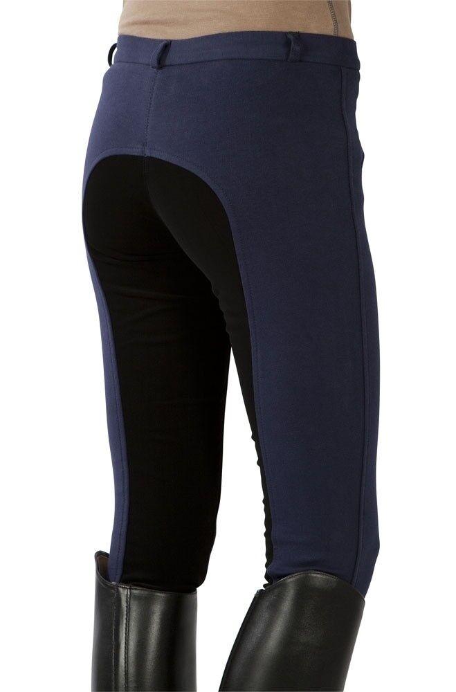 Damen Damen Damen Reithose Vollbesatz Pfiff blau-schwarz NEU b6c016