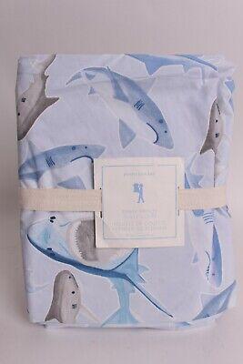 Nwt Pottery Barn Kids Shark Frenzy Twin Duvet Cover Blue