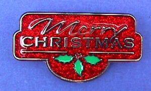 Hallmark-PIN-Christmas-Vintage-MERRY-CAPTION-Red-Glitter-Holiday-Brooch