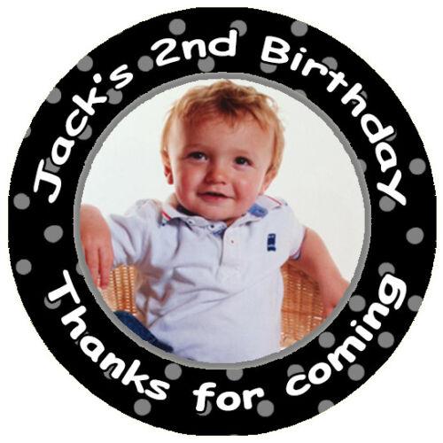 Personalised BIRTHDAY CHRISTENING Kid Photo STICKERS Boy Girl Children Polka Dot