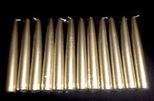 "(12) One Dozen- 6"" X 0.875"" Inch In METALLIC GOLD Taper Candles Weddings Formals"