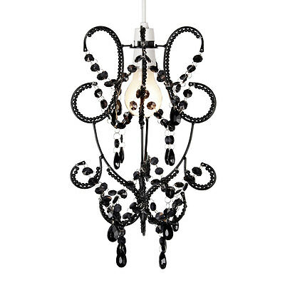 Vintage Style Black Beaded Ceiling Light Pendant Shade Chandelier Lampshade