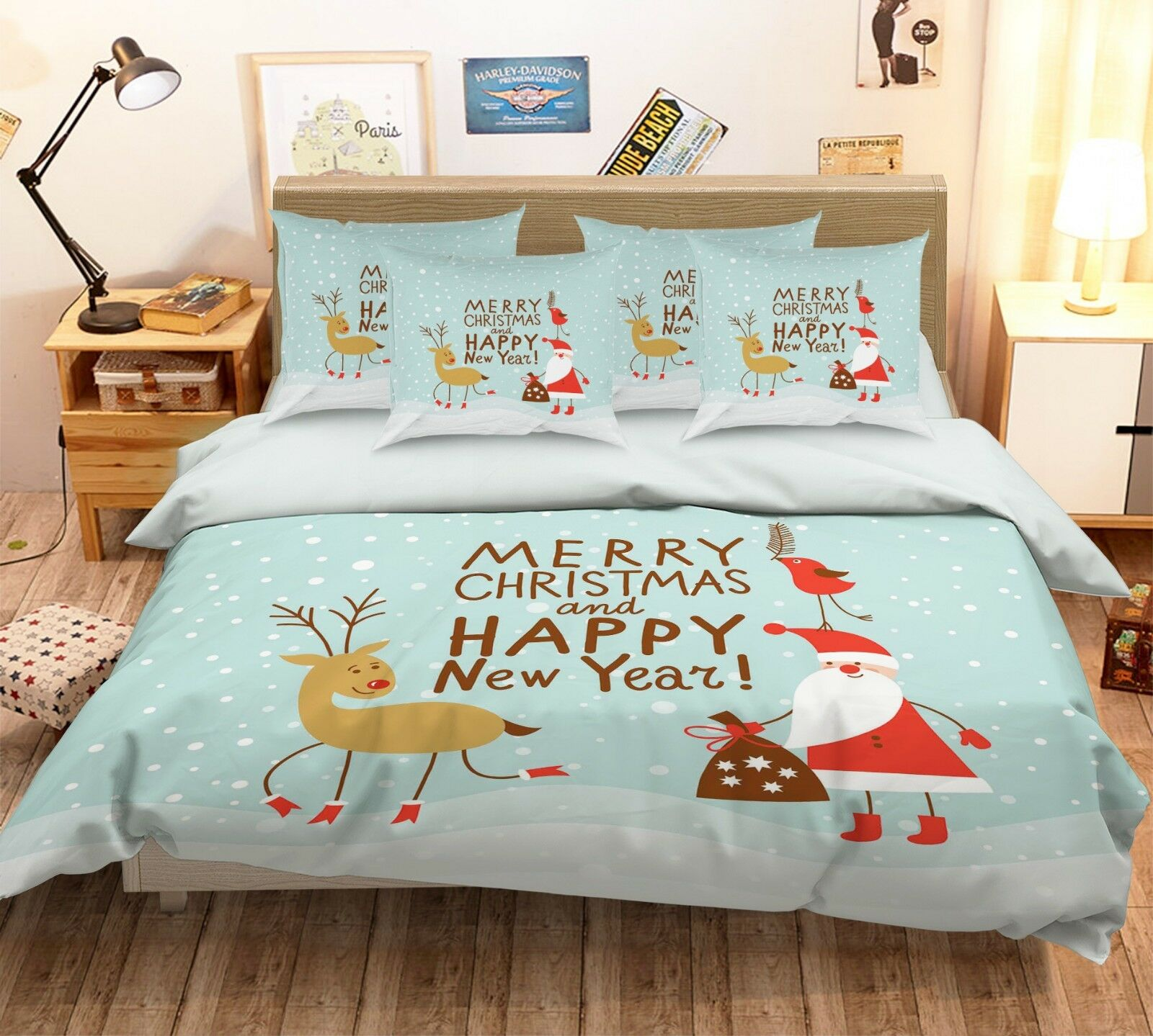 3D Santa Claus Snowing 2 Bed Pillowcases Quilt Duvet Single Queen King US Summer