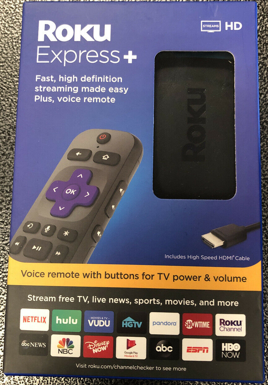 ROKU EXPRESS+ 3931R HD STREAMING MEDIA PLAYER BLACK NEW IN BOX FREE SHIPPING 3931r black box free media new player roku shipping streaming